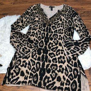 INC cheetah tunic top size large